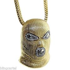 "Goon Masked Man Iced-Out Luchador Pendant Gold Finish Necklace 36"" Franco Chain"