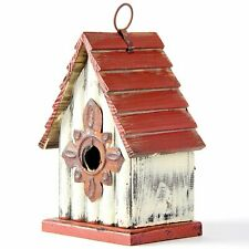 "Glitzhome 9.06"" Antique Hand Painted Wood Birdhouse Decorative Bird House Feeder"