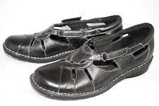 CLARKS BENDABLES Nikki Regatta 39333 Wo's 9M Black Leather Casual Slip On Flats