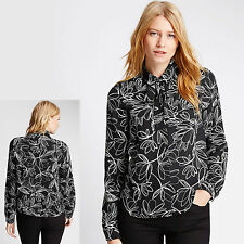 New M&S Silky TIE NECK Collared BLOUSE ~ Size 10 ~ BLACK Scribble Print