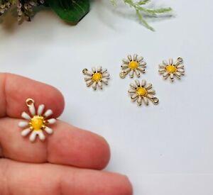 Charms Flower Charms daisy charms, flower Charms, jewellery Making, pk of 5