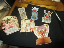 Vintage 1930's Valentine's Day Accordion Stand up Group of 6