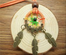 New DIY Retro Handmade Dreamcatcher Feathers With Bead Long Chain Orang Necklace