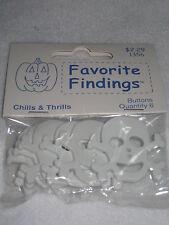 Primitive Set 6 Pcs Halloween Skull Plastic Novelty Buttons 2 Hole