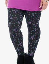 Torrid 0X XL Plus Size Black Purple Confetti Comfy Soft Stretch Knit Leggings