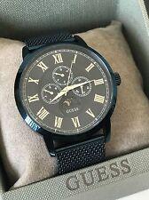 Guess Men's Blue Mesh Steel Chronograph Silver Roman Numerals Watch U0871G3 NWT