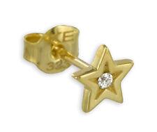 ECHT GOLD *** Stern Zirkonia Herren Einzel- Ohrstecker Ohrring 6 mm