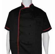 Classic Chef Coats, black and red chef coat, kitchen chef coat, chef uniform New