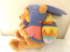 Disney Easter Winnie The Pooh Plush W/ Bunny Ears  W/ Chick in Egg Backpack