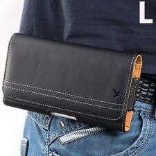 for LG K30 X410 / K10 (2018)/ MS425 - Black Leather Belt Clip Pouch Holster Case