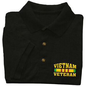 Vietnam Veteran shirt Mens polo style t-shirt black US Marines Army Navy vet