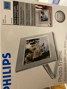 "Philips 9"" Digital Modern Metal Photo Frame, Brushed Steel - 9FF2CME New"