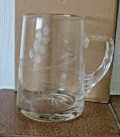 Vintage etched glass tankard