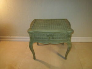 Vintage Whitecraft Wicker Rattan Wood End Table Accent Table One Drawer