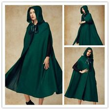 Women Winter Warm Christmas Long Hooded Sleeveless Cape Loose Lolita Green Coat
