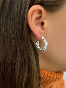 Sterling Silver Byzantine Link Hoop Earrings