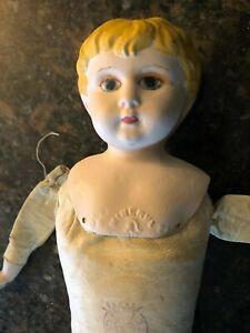"""Antique Minerva Germany 5 Metal Head Doll Kid Body ~ 1910 18"""" Tall"""