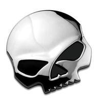 Auto Chrome Silver 3D Skull Bone Metal Emblem Badge Decal Sticker Car Motor Bike