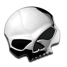 Auto Chrome Silver 3D Skull Bone Metal Emblem Badge Decal Sticker Car Motor Bike