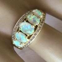 Art Deco Vintage Jewellery Gold Ring with Opals White Sapphires Antique Jewelry