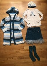 Gymboree Girls Best Friend Sweater Shirt Hat Socks Set Teal Dog Girls Size 5-6