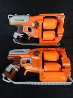 Lot of 2 Nerf C-022G Zombie Strike Flipfury Guns - All Mechanisms Work Well
