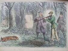 ANTIQUE PRINT C1800'S FOX HUNTING COLOUR STEEL ENGRAVING SPORT VICTORIAN ART