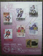 "2000-2001 UPPER DECK SPX NHL HOCKEY TRADING CARDS 8x11"" ADVERTISING SHEET"