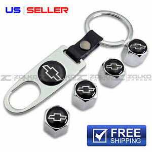 VALVE STEM CAPS + KEYCHAIN WHEEL TIRE FOR CHEVY CHEVROLET CHROME- US SELLER VS08