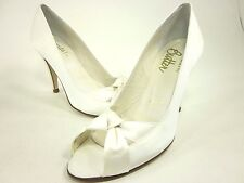 BRIDAL BY BUTTER, CADEN PEEP-TOE PUMP, WOMENS, WHITE SATIN, US 6M, NEW IN BOX