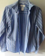 Worthington Non Iron Size 4 Button Blouse Top Blue Striped Long Sleeves