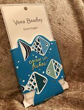 Vera Bradley Drink Hugger GO FISH DOT Teal Blue Koozie NWT New UPC:825466961029