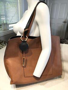 Street Level Faux Leather Hobo Tote Bag Reversible tan black Shoulder Purse
