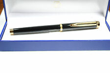 WATERMAN GENTLEMAN BLACK  & GOLD TRIM ROLLERBALL PEN  NEW IN BOX