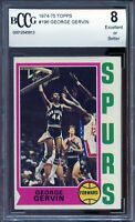 1974-75 Topps #196 George Gervin Card BGS BCCG 8 Excellent+