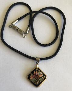 Vintage 1990's Black Cloisonné Choker Necklace