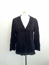 The Ark size M black crush polyester long sleeve top with v-neck