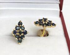 14k Solid Yellow Gold Diamond Shape Stud Earrings, Natural Sapphire 1.96 Grams