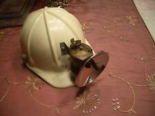 ANTIQUE COAL MINERS JUSTRIGHT BRASS CARBIDE LIGHT, MADE IN USA + HARD HAT #1, EX