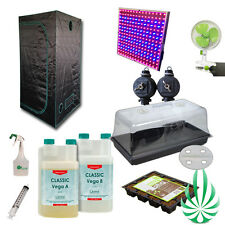 Hydroponic Full Sepctrum LED 0.9x06.x1M Grow Tent Vent Fan CANNA Plant COCO tray