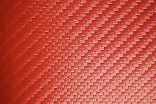 "Carbon Fiber Marine Vinyl Fabric Fire Red Outdoor Automotive Upholstery 54"" Wide"
