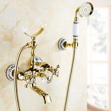 Luxury Gold Bathroom Tub Faucet Dual Cross Handle Mixer Tap Hand Shower Set NEW