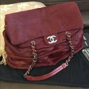 Chanel Fur Burgundy Shoulder Bag