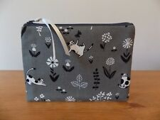 Grey Cat Fabric Storage Pouch Coin Zip Purse Make Up Cosmetics Case Bag Handmade