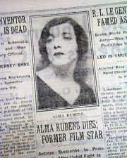 ALMA RUBENS American Hollywood Film & Stage Actress DEATH 1931 Old NYC Newspaper