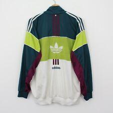R75 Vtg Adidas Originals 90s Men Green White Track Jacket Retro Rare GB40/42 M