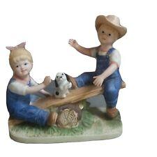 Denim Days by Homco, 1985 Danny & Debbie Playing On A Seesaw Figurine- #8827
