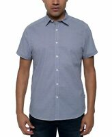 Kenneth Cole Mens Shirt Blue Size Large L Button Down Short Sleeve $69 #014