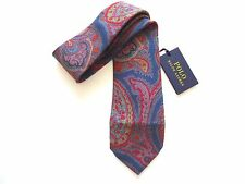 New Ralph Lauren Polo Italy 100% Silk Handmade Dark Pastel Floral Paisley Tie
