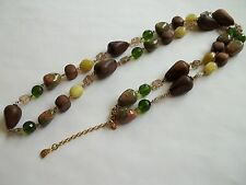 """YOCHI NY necklace,glass,stone,wood,green,brown,46""""long,great cnd,"""